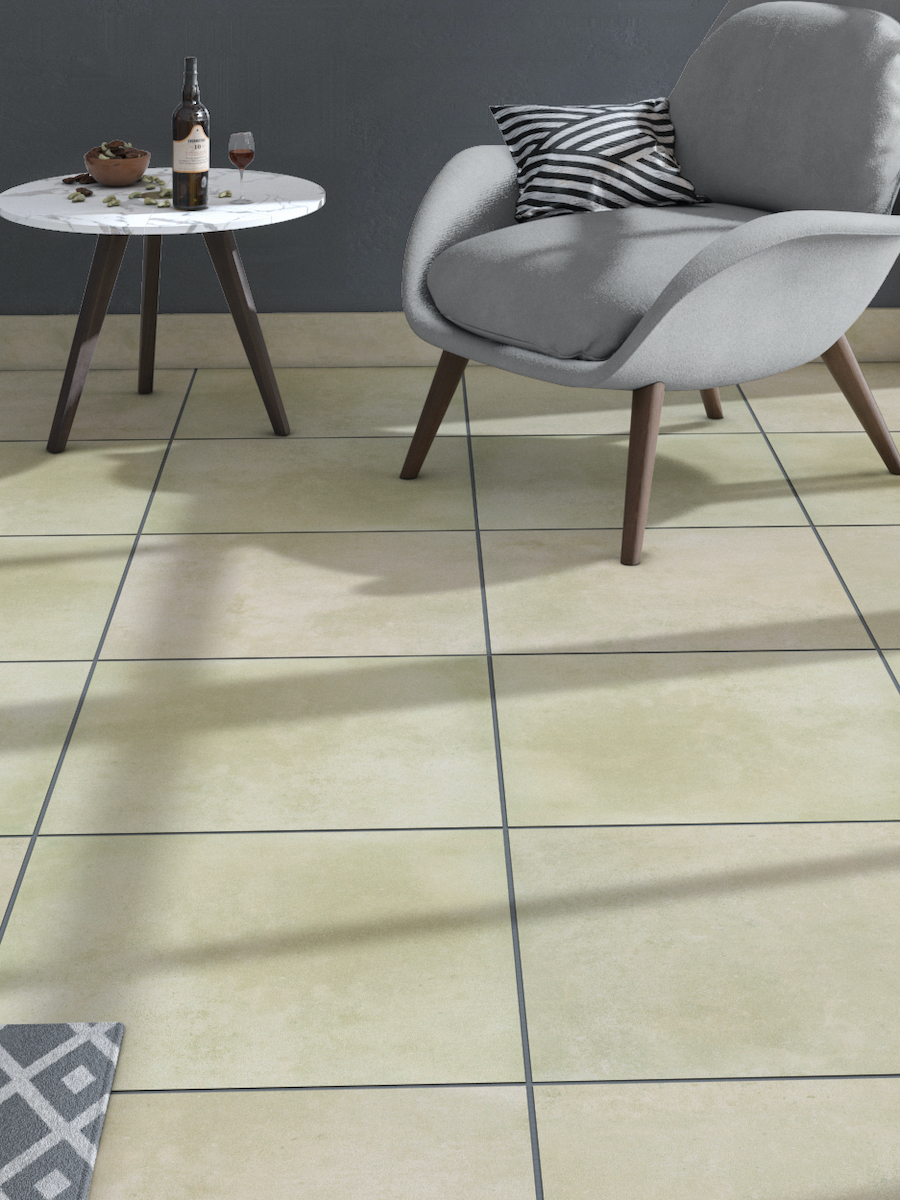 Beige Sandstone Effect Indoor Wall & Floor Tile - 600x600(mm)