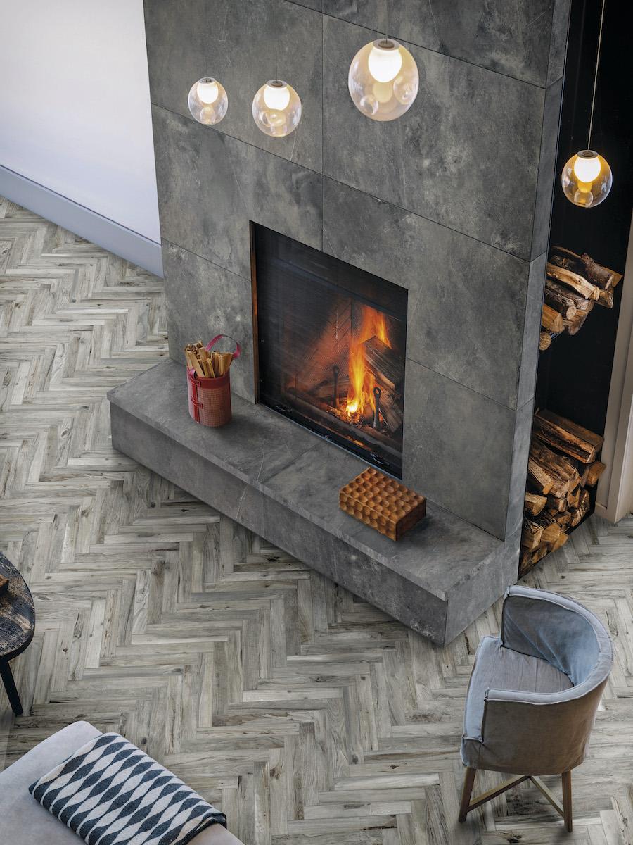 Living Tortora Herringbone Wood Effect Floor Tile - 450x75(mm)