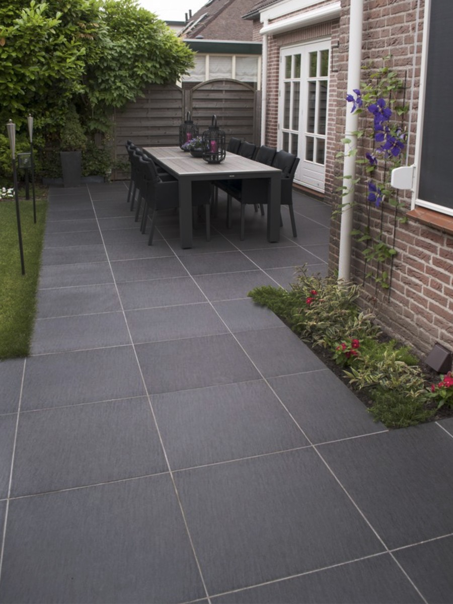 Ardesia Nero Virtue Vitrified Porcelain Paving Slabs - 600x600 Pack