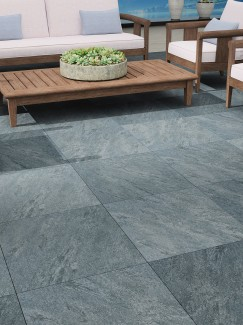 Argento Nero Virtue Vitrified Porcelain Paving Slabs - Mix Size Patio Pack