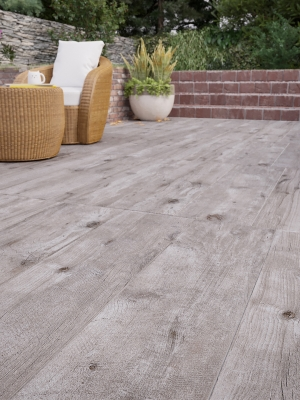 Ash Wood Virtue Vitrified Outdoor Porcelain Paving Slabs - 1200x300 Pack