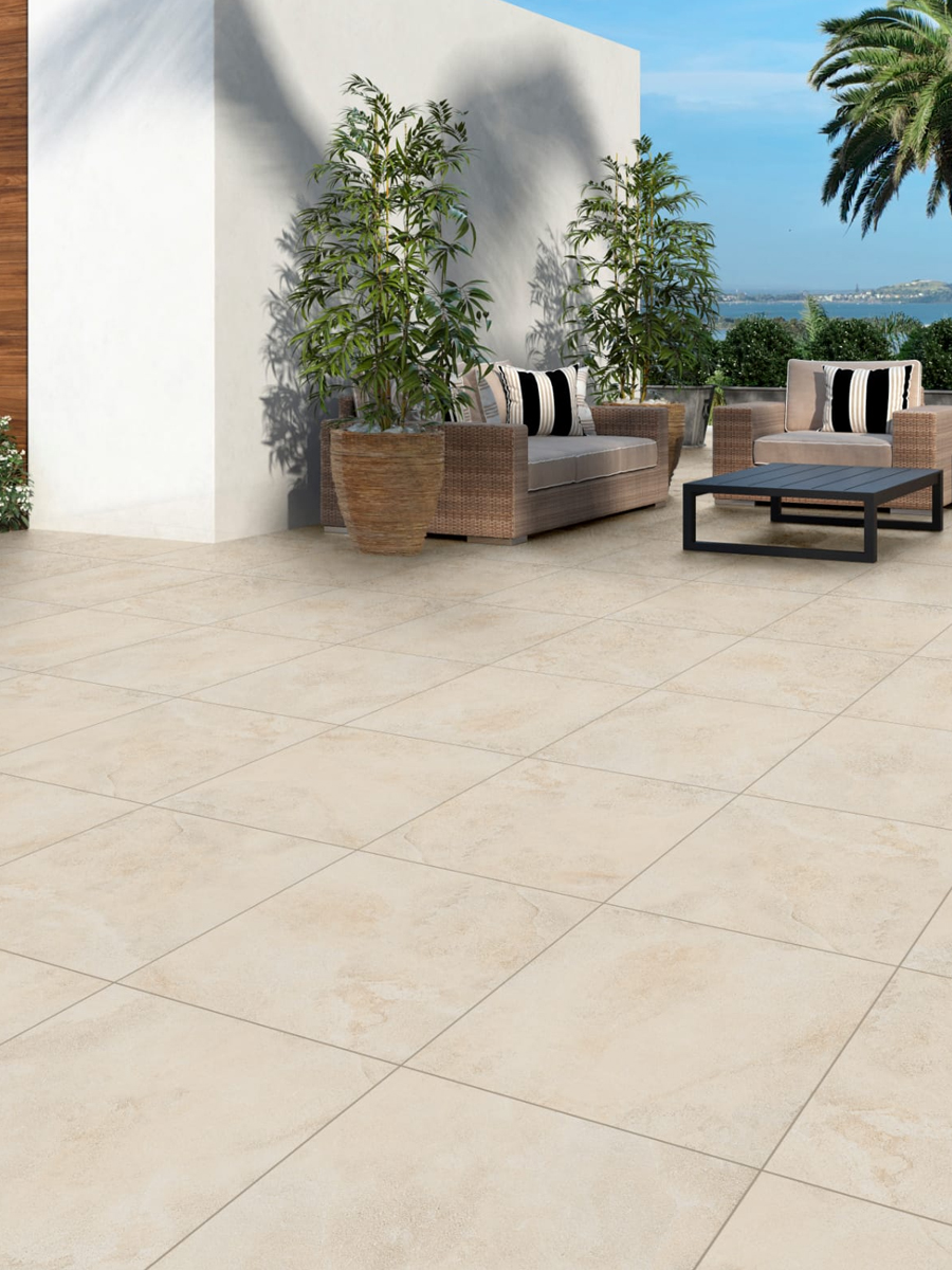 Bavaria Buff Virtue Vitrified Outdoor Porcelain Paving Slabs - 600x600 Pack