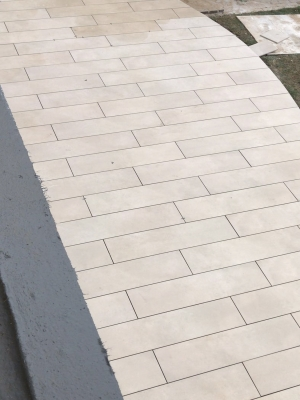Beige Sawn Sandstone Effect Porcelain Paving Slabs - 1200x300 Planks
