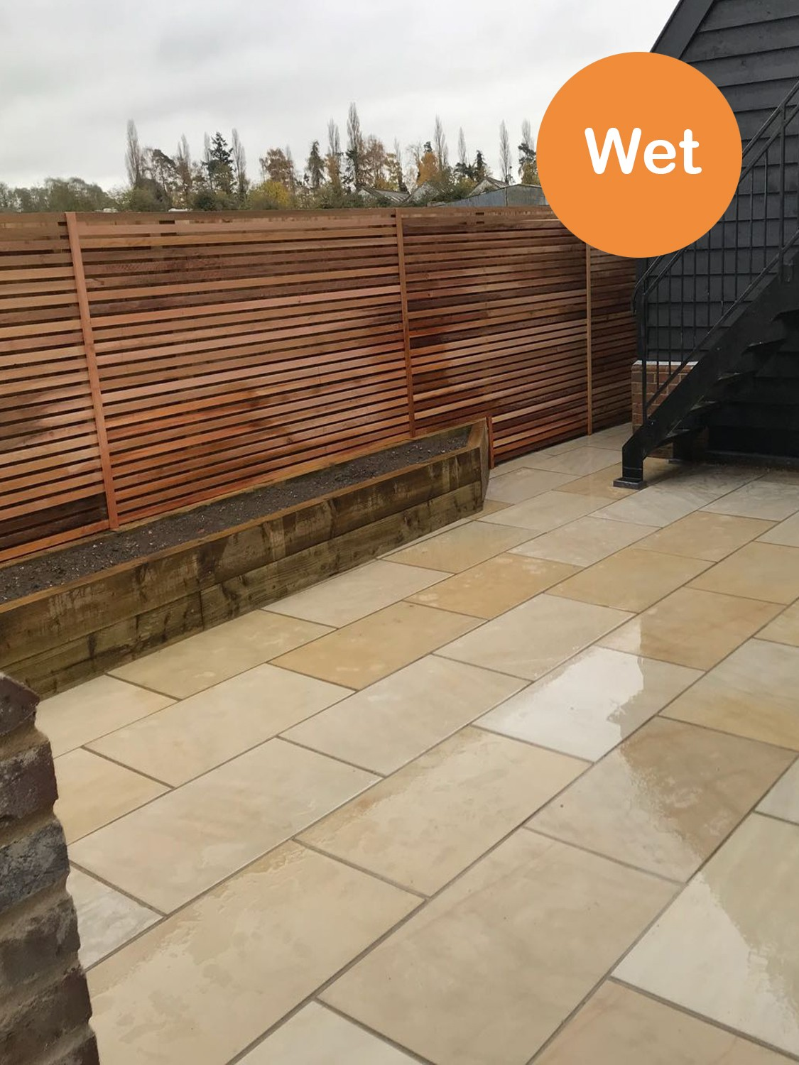 Beige Smooth & Sawn Sandstone Paving - 1200x600 Pack