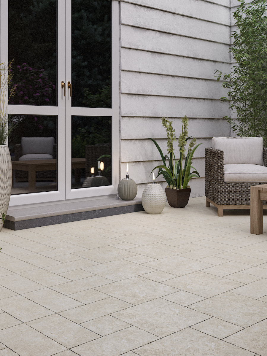 Beige Travertine Tumbled Outdoor Porcelain Paving Slabs - Mix Size Pack