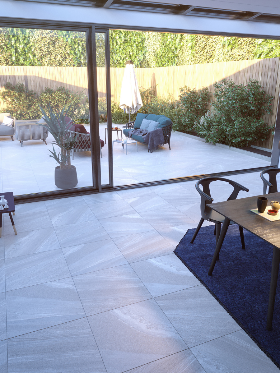 Bianco Slate Effect Indoor Floor Tile - 600x600(mm)