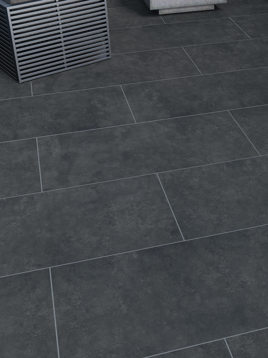 Clay Anthracite Outdoor Porcelain Paving Slabs - 1200x600 Pack