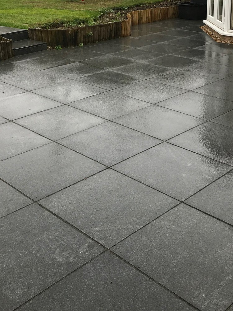 Dark Grey Granite Paving Slabs 600x600