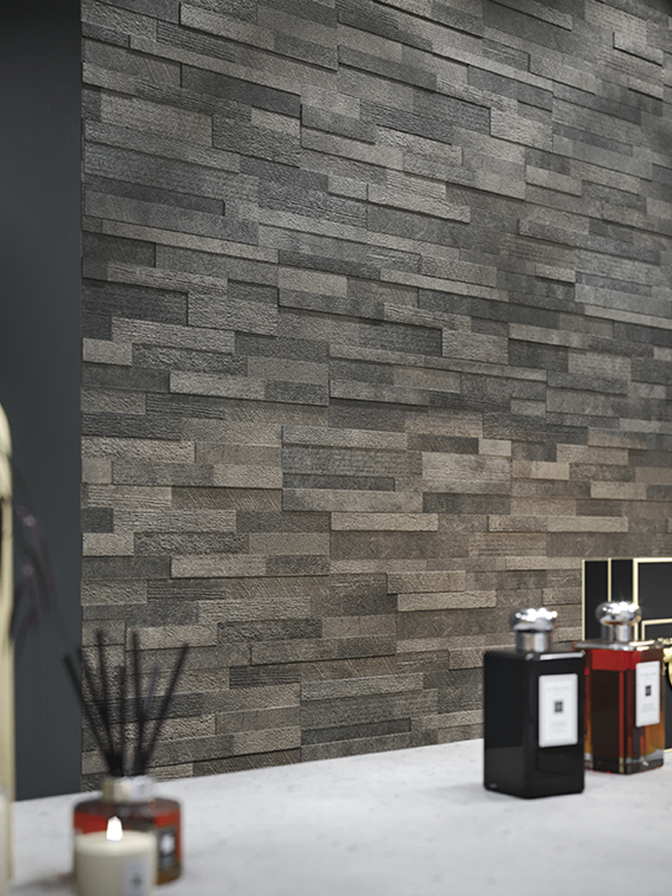 Dark Grey Quartz Split Face Effect Porcelain Wall Tile - 150x610