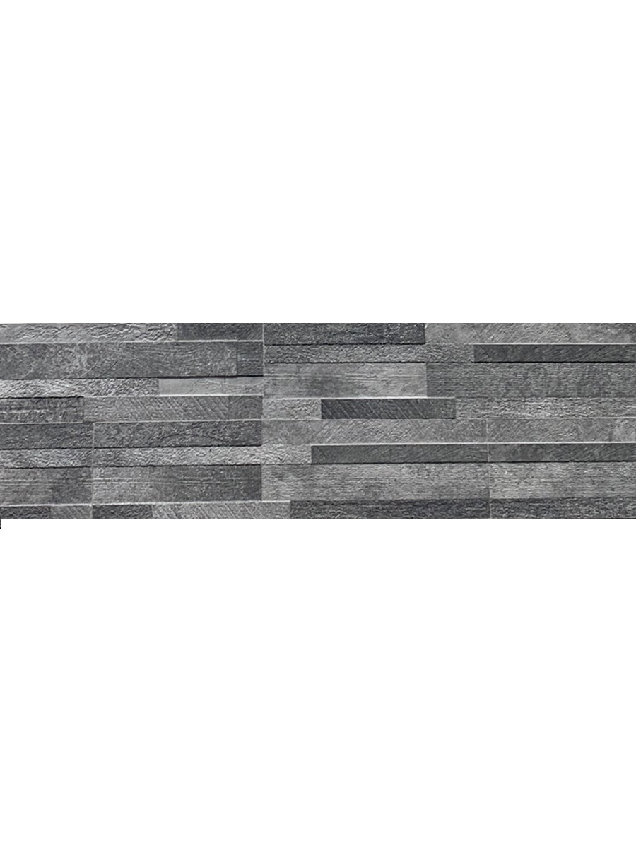 Dark Grey Quartz Split Face Effect Outdoor Porcelain Wall Tile - 150x610x7-11(mm)