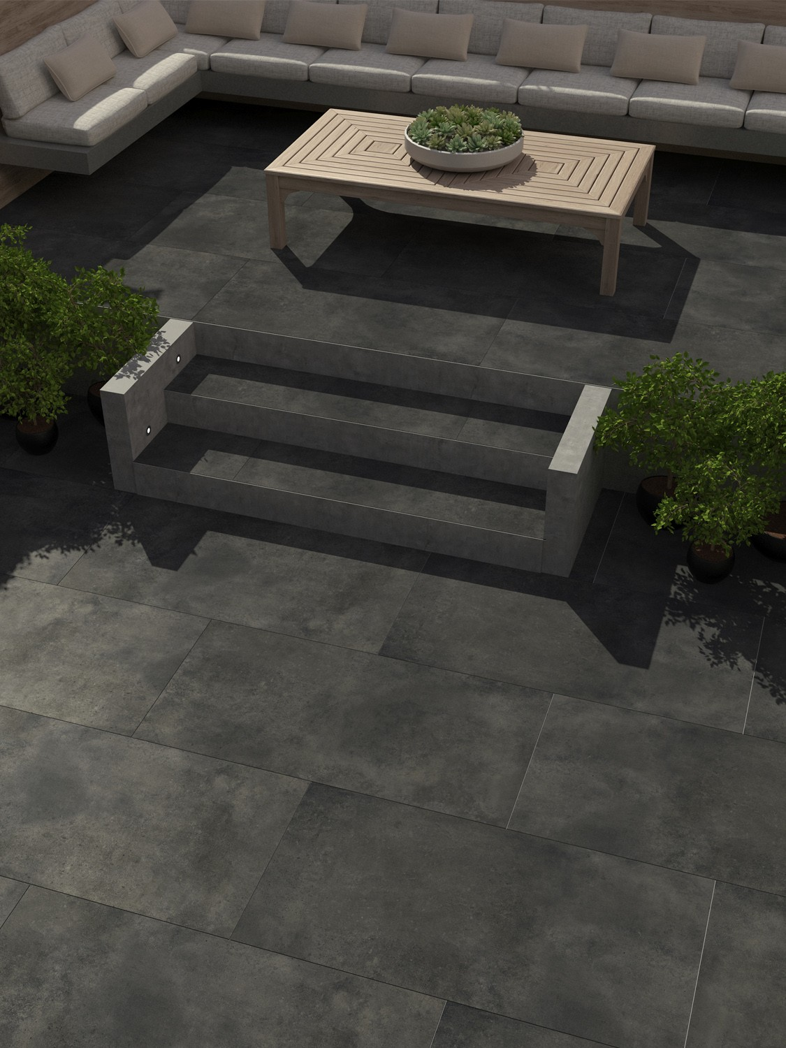 Eclipse Ash Virtue Vitrified Porcelain Paving Slabs - 1200x600 Pack