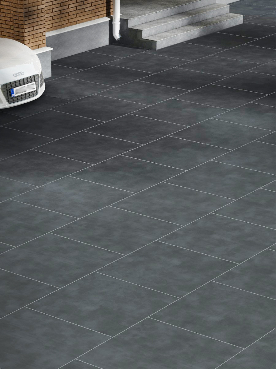Eclipse Dark Grey Vitrified Driveway Porcelain Paving Slabs - 600x600x30mm Pack