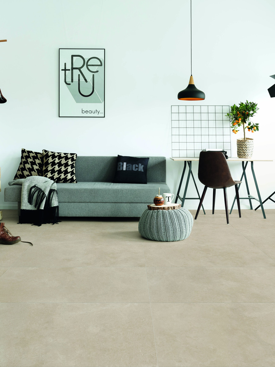 Beige Sandstone Effect King Size Indoor Floor Tile - 1200x600(mm)