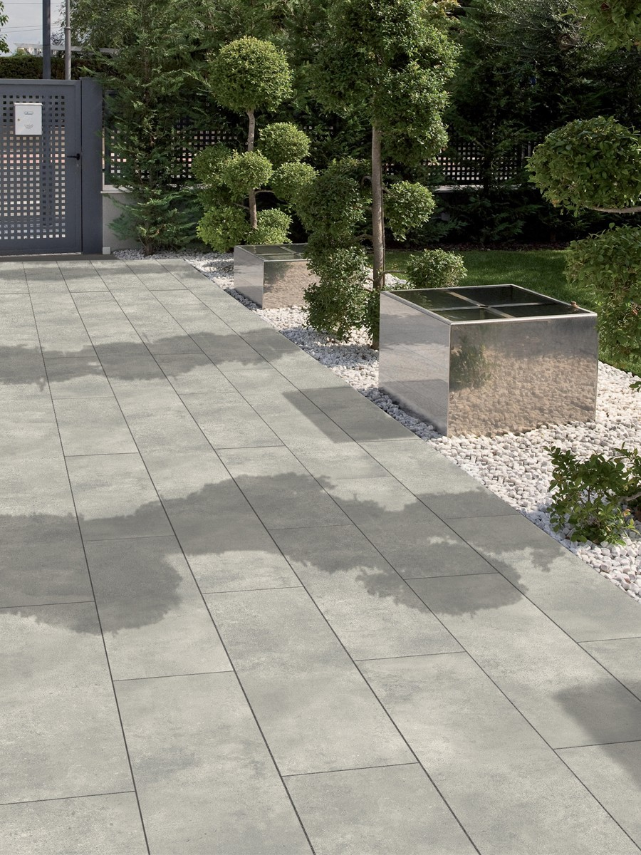 Eclipse Silver Grey Virtue Vitrified Porcelain Paving Slabs - 1200x300 Planks