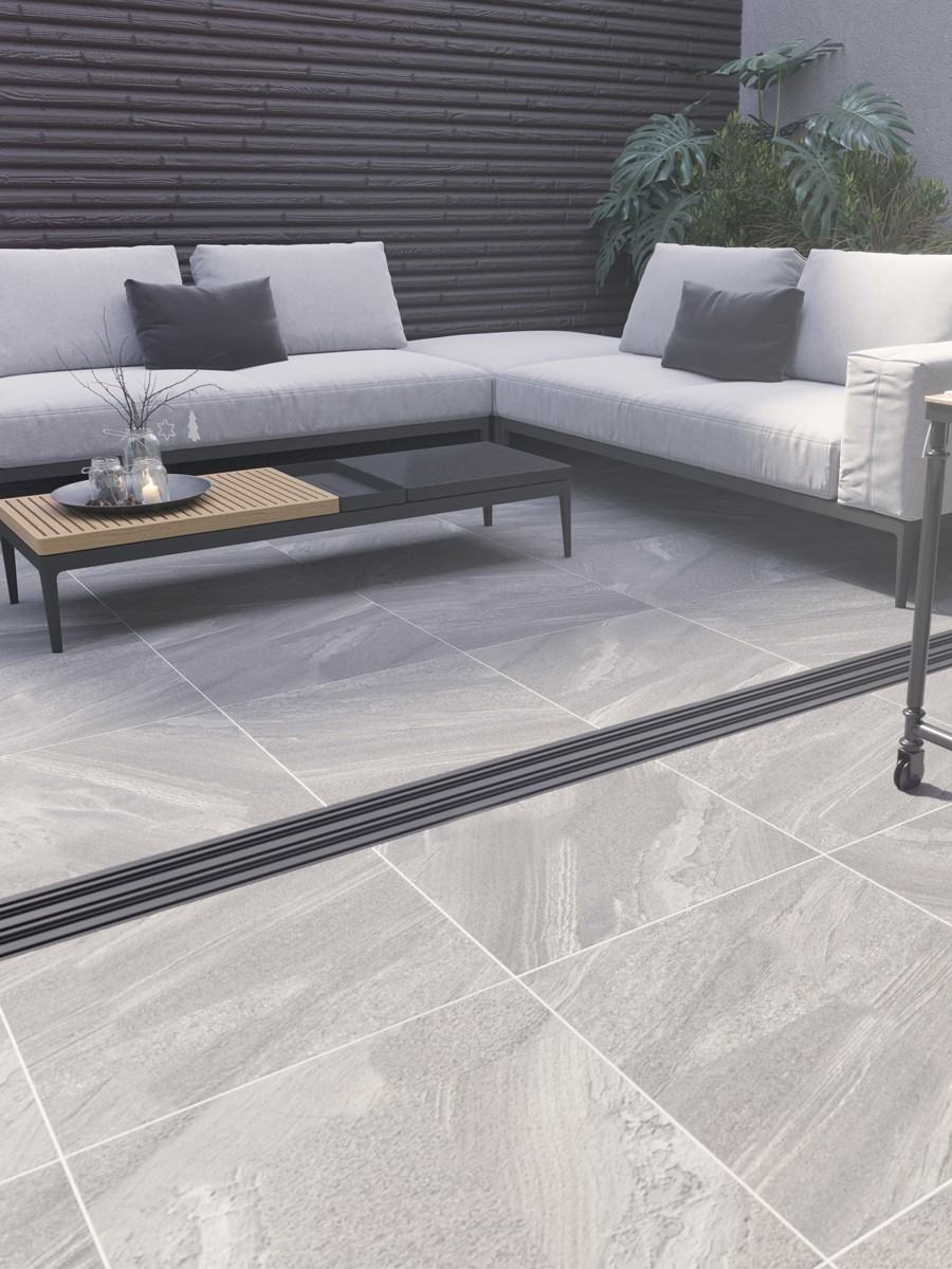 Esparada Grigio Marble Effect Outdoor Porcelain Paving Slabs - 600x600 Pack