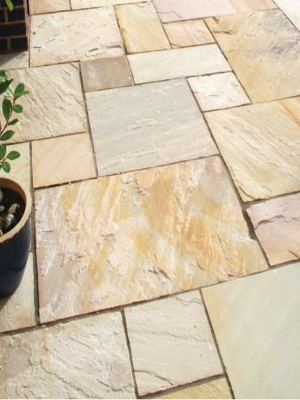 Fossil Mint Indian Sandstone Paving Slabs - Roman Pattern Patio Pack