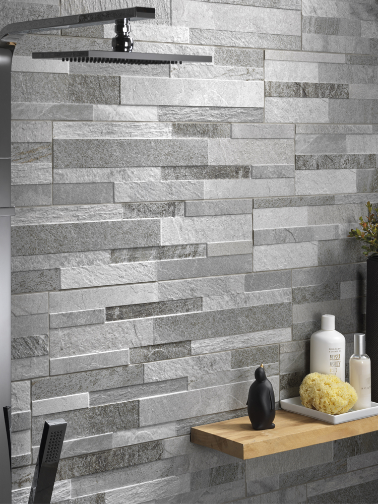 Grey Slate Split Face Effect Porcelain Wall Tile - 150x610