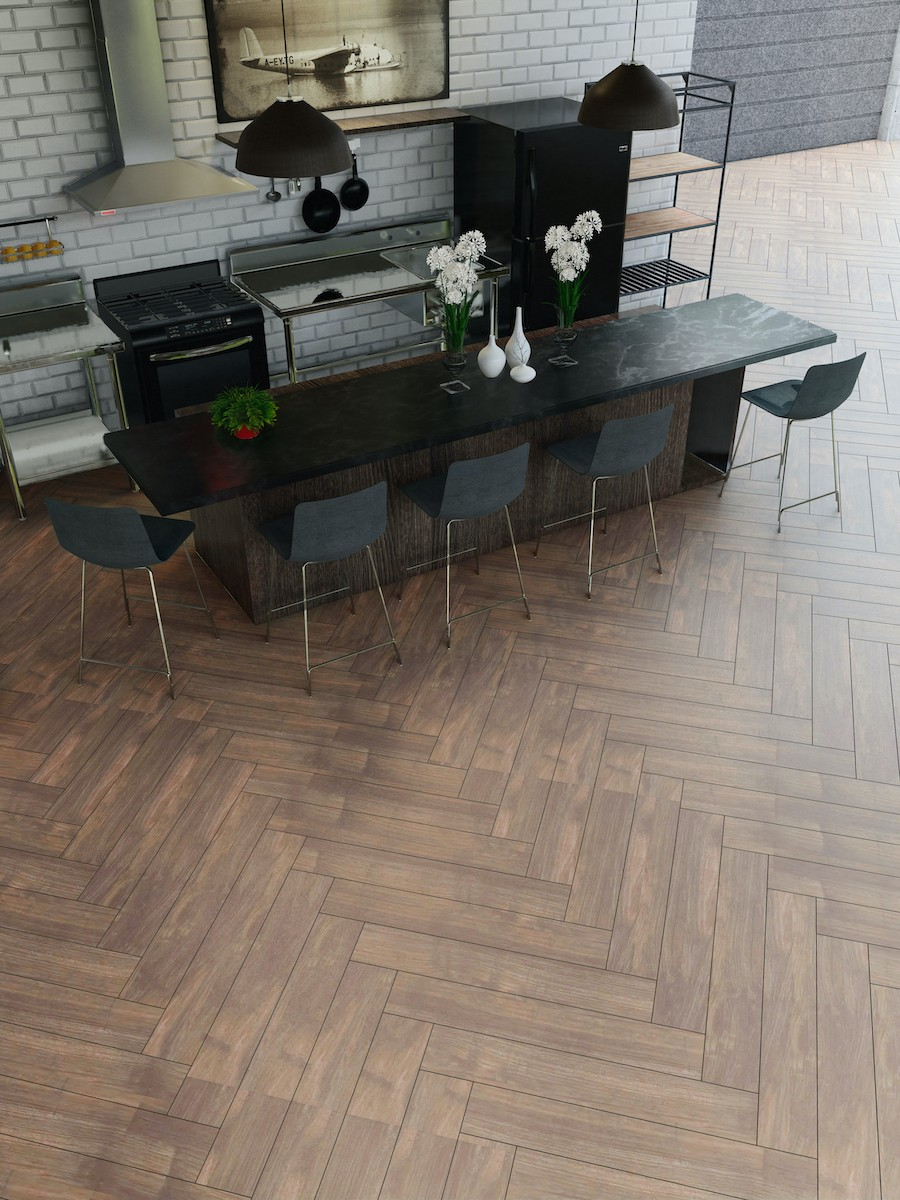 Atelier Walnut Wood Effect Herringbone Tile - 900x150(mm)