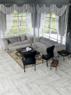 Lata Gris Wood Effect Herringbone Floor Tile 900x150(mm)