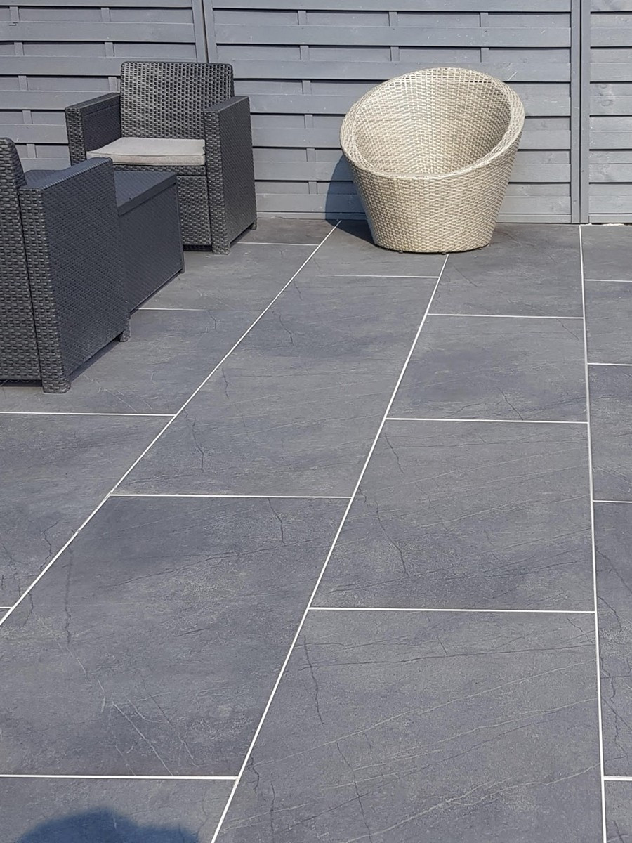 Marmo Anthricita Marble Effect Outdoor Porcelain Paving Slabs - 1200x600 Pack