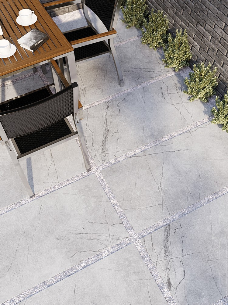 Marmo Gris Marble Effect Outdoor Porcelain Paving Slabs - 1200x600 Pack
