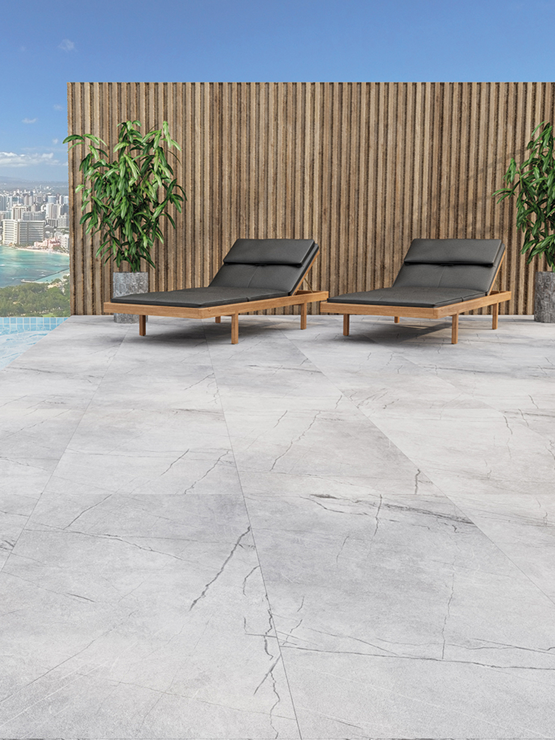 Marmo Gris Marble Effect Outdoor Porcelain Paving Slabs - 600x600 Pack