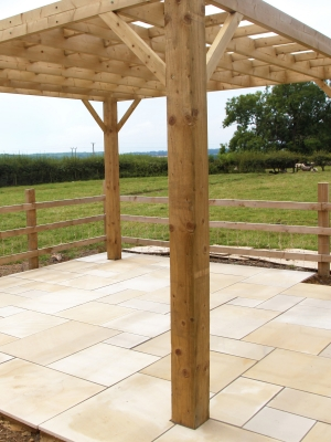 Beige Smooth & Sawn Sandstone Paving - Patio Pack