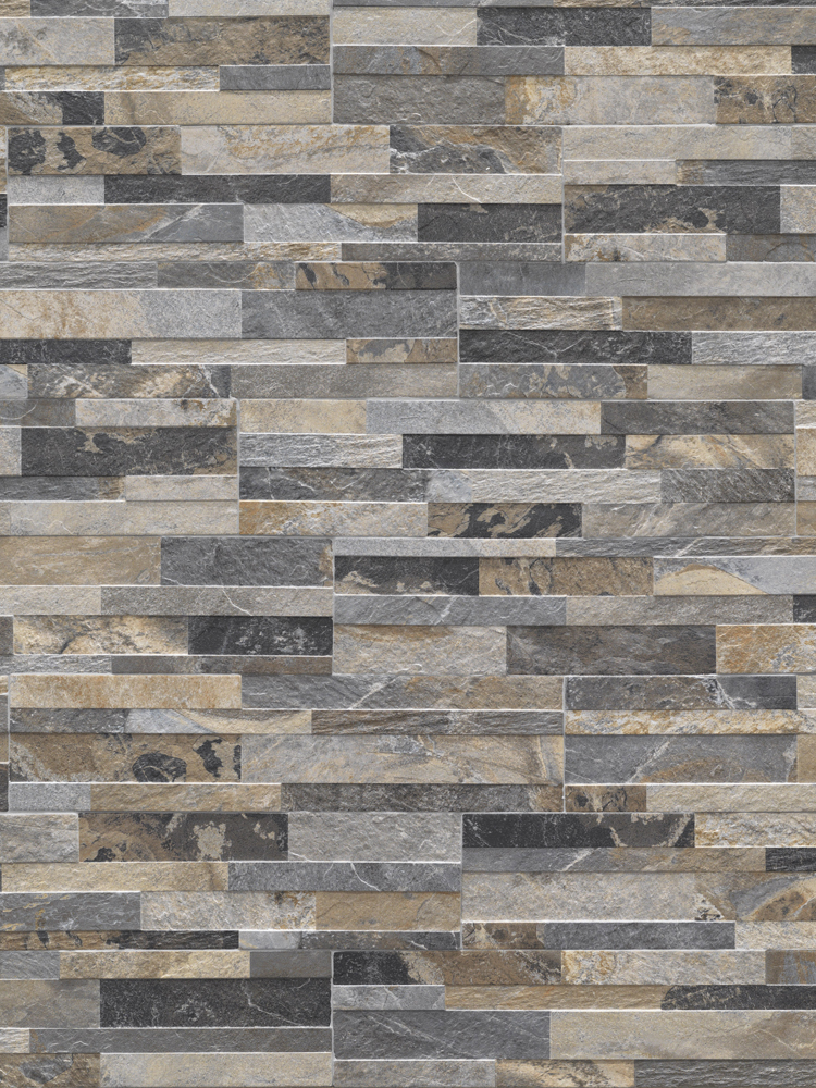 Multicolour Slate Split Face Effect Porcelain Wall Tile - 150x610