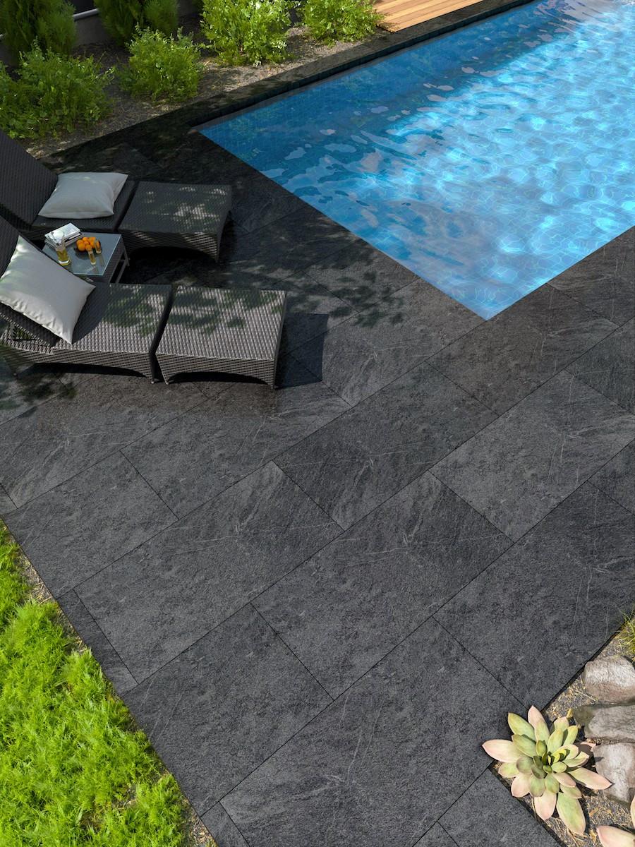 Mystone Quartzite Black Vitrified Porcelain Paving slabs - 1000x500 pack