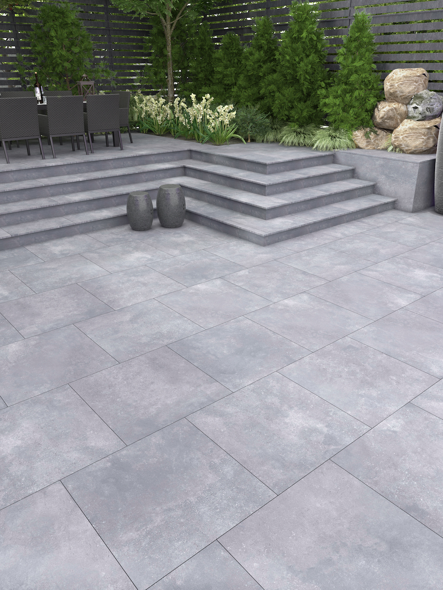 Nexus Grey Virtue Vitrified Porcelain Paving Slabs - 800x800 Pack