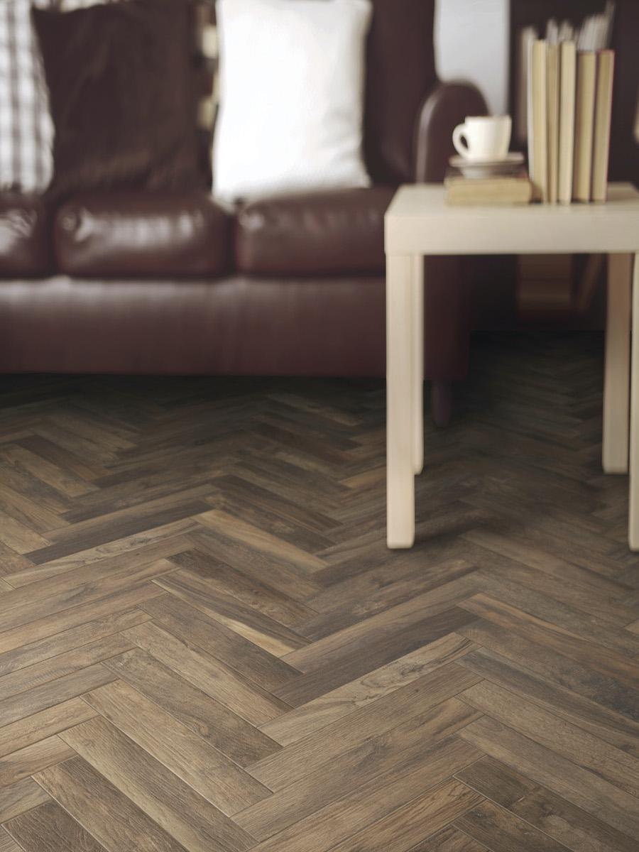 Living Noce Herringbone Wood Effect Floor Tile - 450x75(mm)