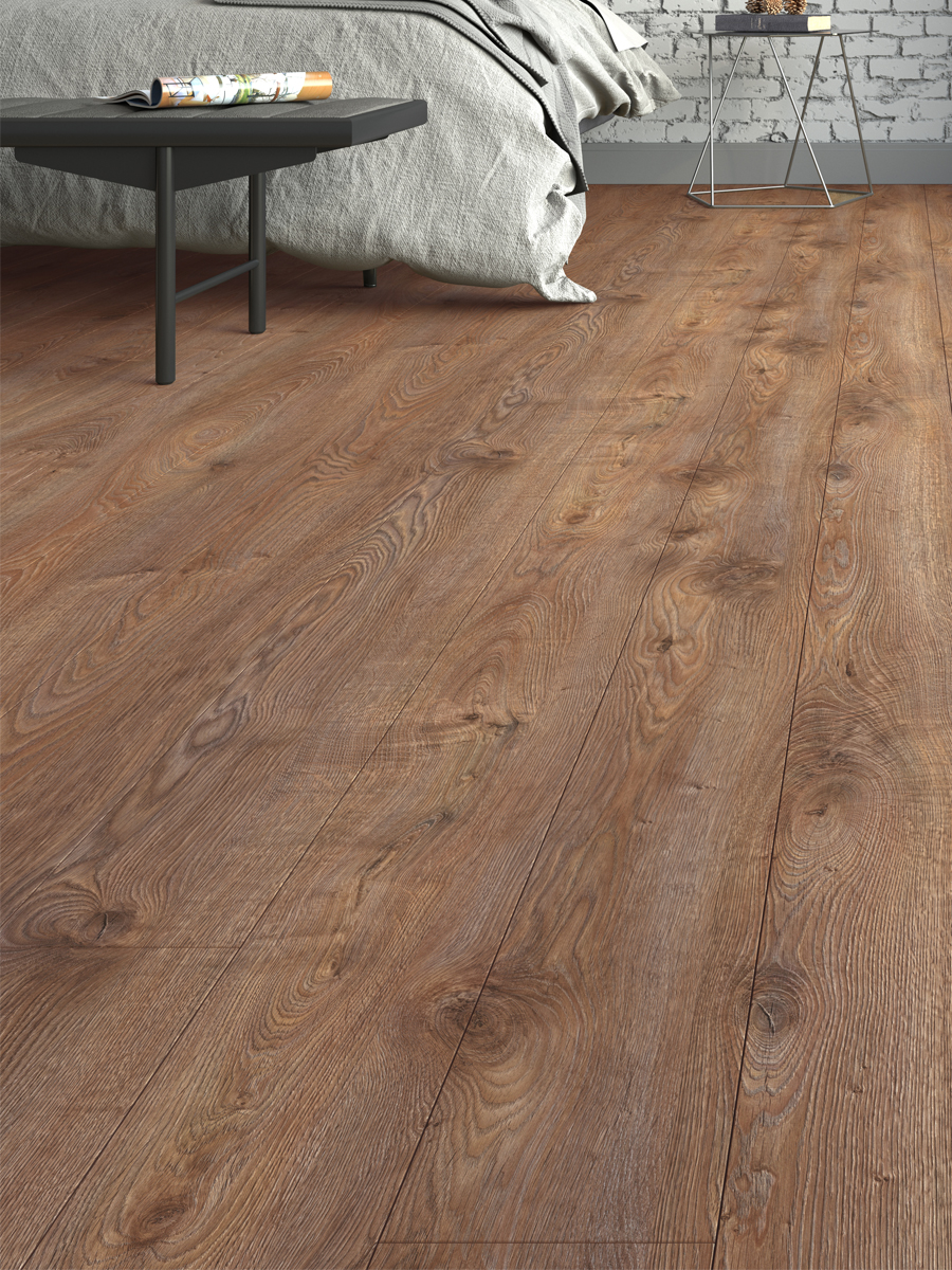 Rustic Teak Wood Click Laminate Flooring - 1195x189x12(mm)