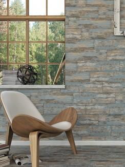 Rustic Blue Wood Effect Porcelain Tiles - 600x150x8.5