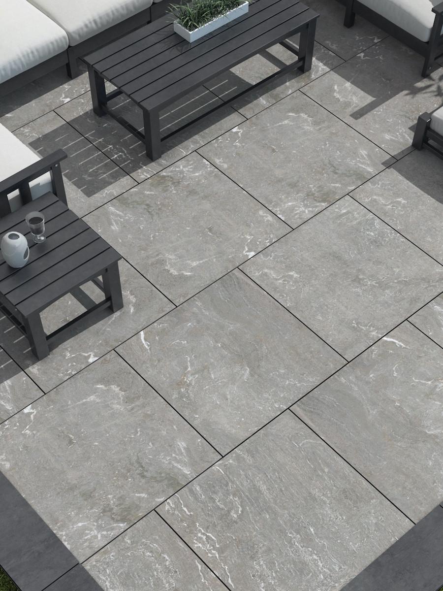 Pietra Di Vals Grey Outdoor Porcelain Paving slabs - 600x600 Pack