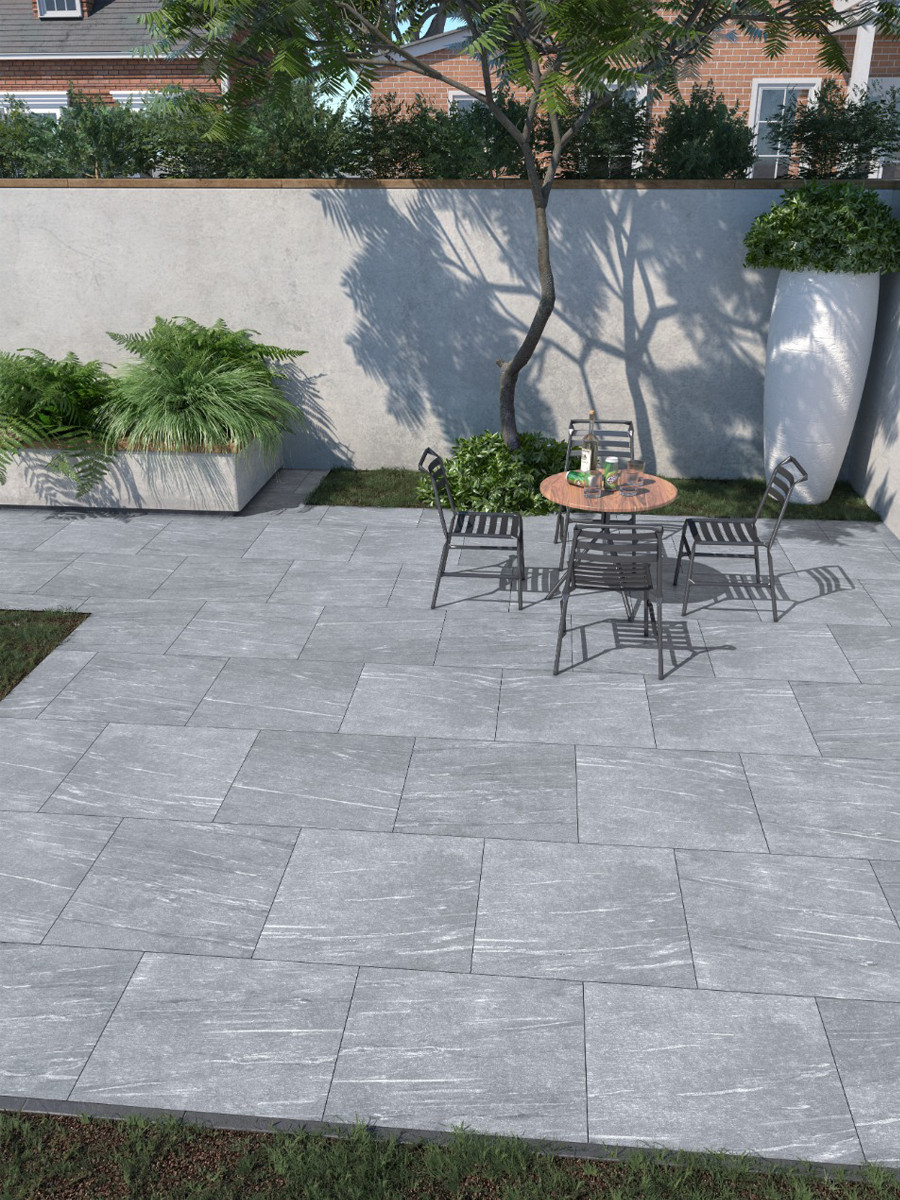 Pietra Grey Vitrified Outdoor Porcelain Paving Slabs - 600x600 Pack