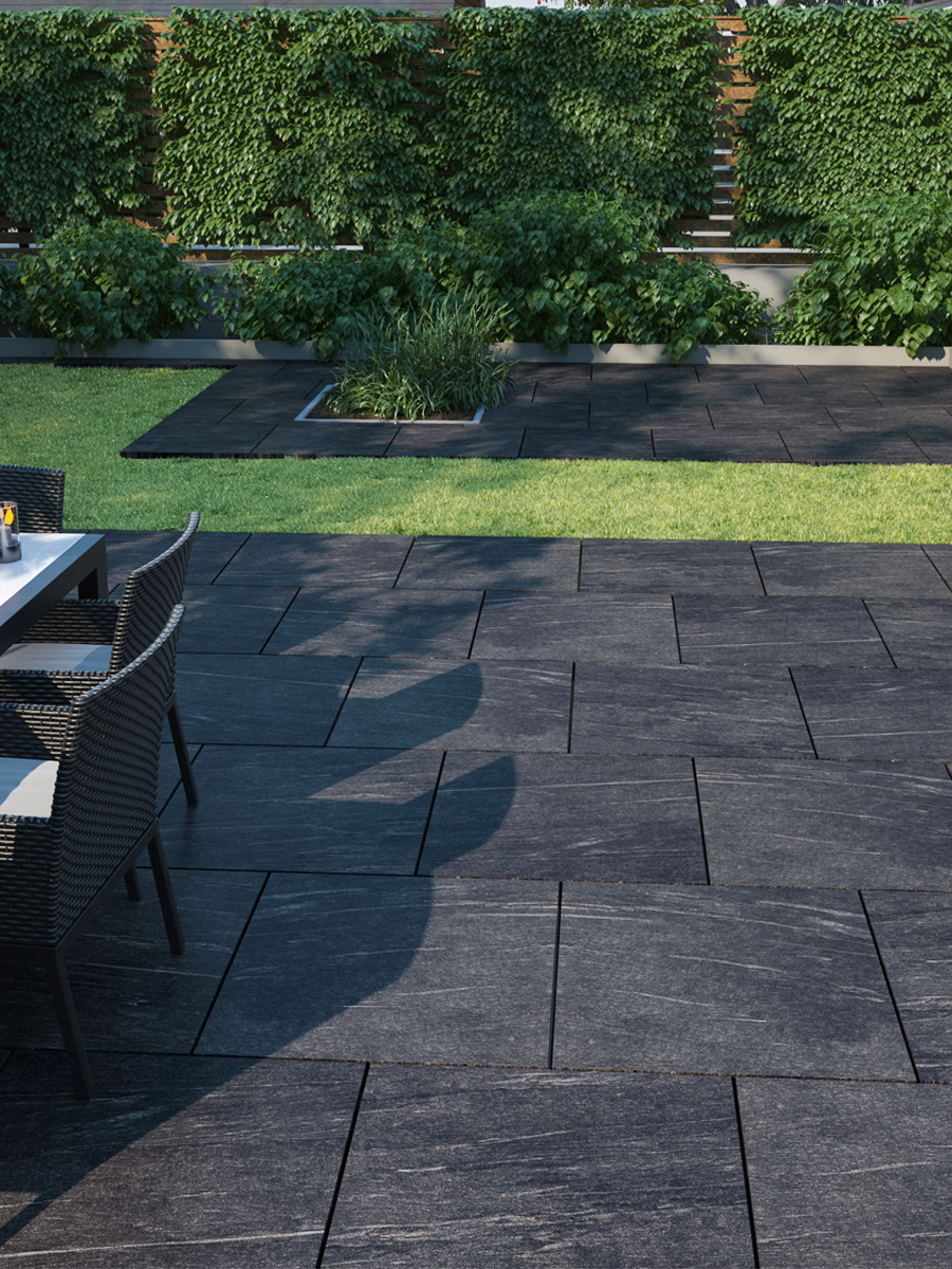 Pietra Nero Vitrified Outdoor Porcelain Paving Slabs - 600x600 Pack
