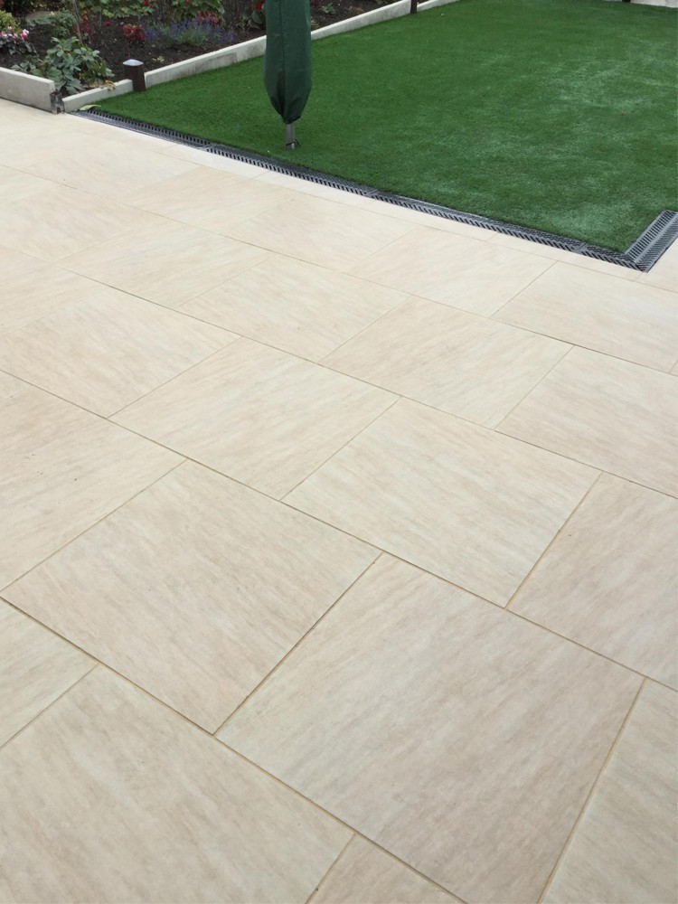 Quartz Beige Smooth Stone Effect Porcelain Paving Slabs - 600x600 Pack