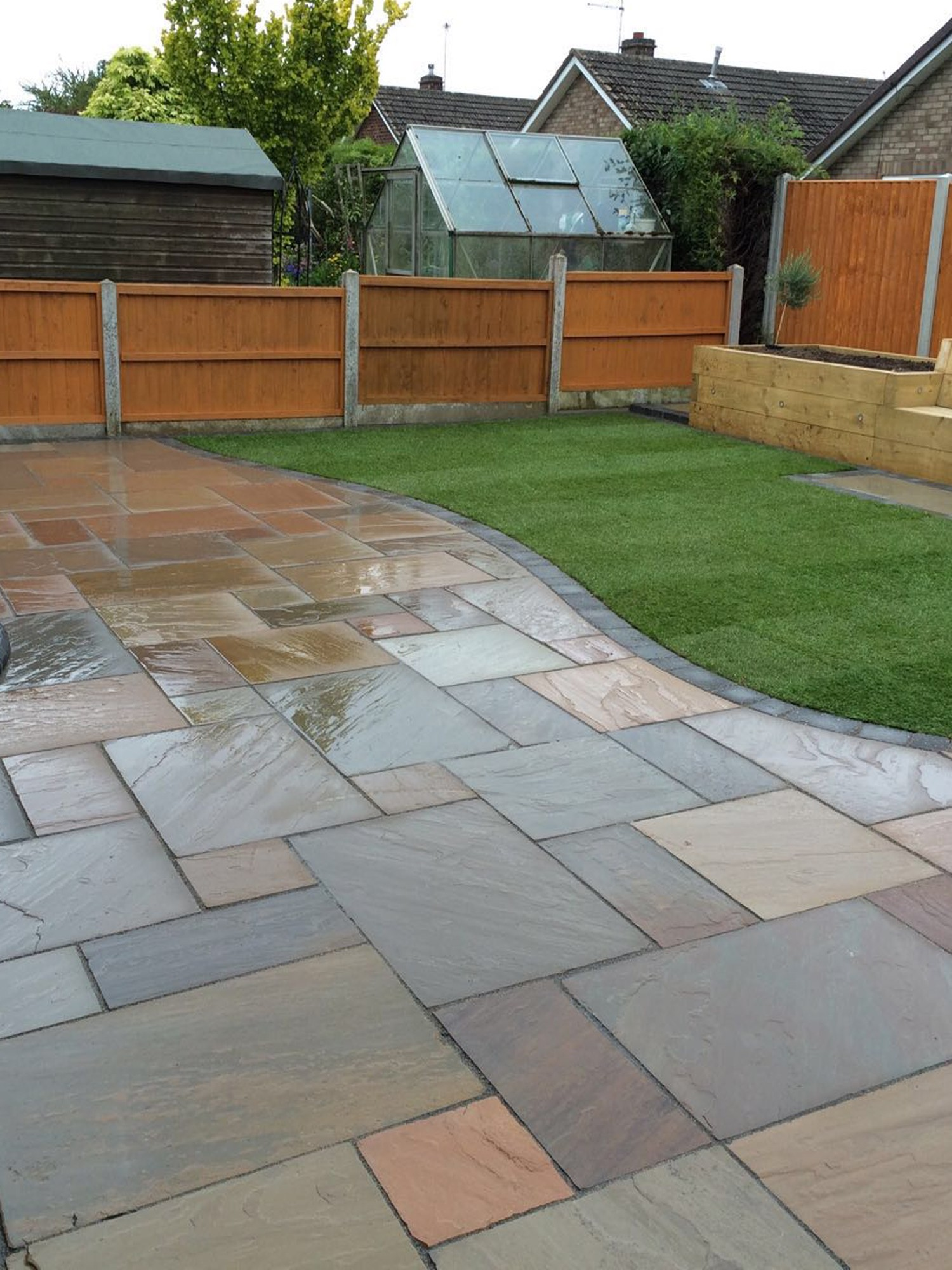Raj green sandstone paving garden paving slabs for Green pavers