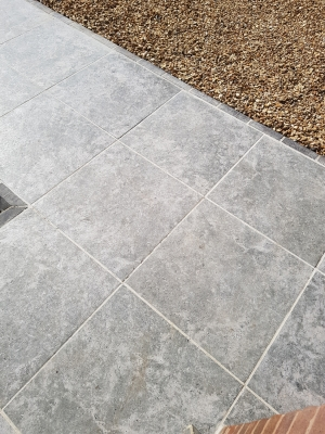 Silver Grey Travertine Virtue Vitrified Porcelain Paving Slabs - 600x600 Pack
