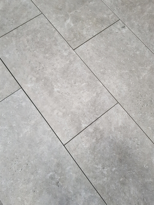 Silver Travertine Virtue Vitrified Porcelain Paving Slabs - 900x450 Pack