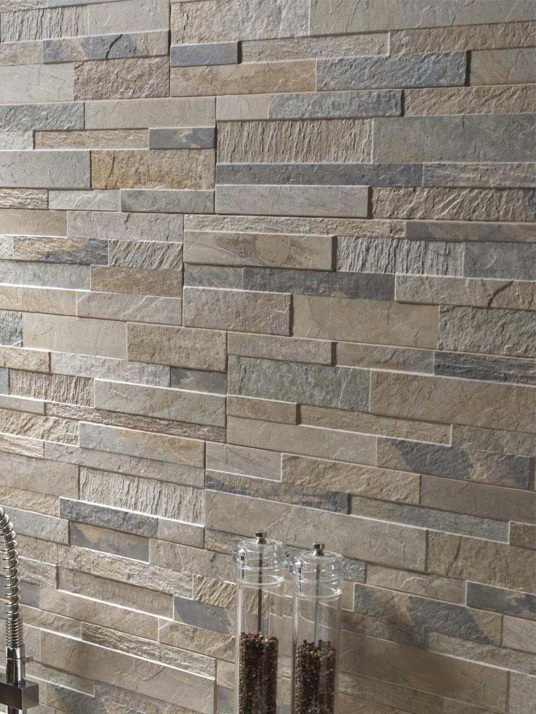Beige Slate Split Face Effect Outdoor Porcelain Wall Tile - 150x610x7-11(mm)