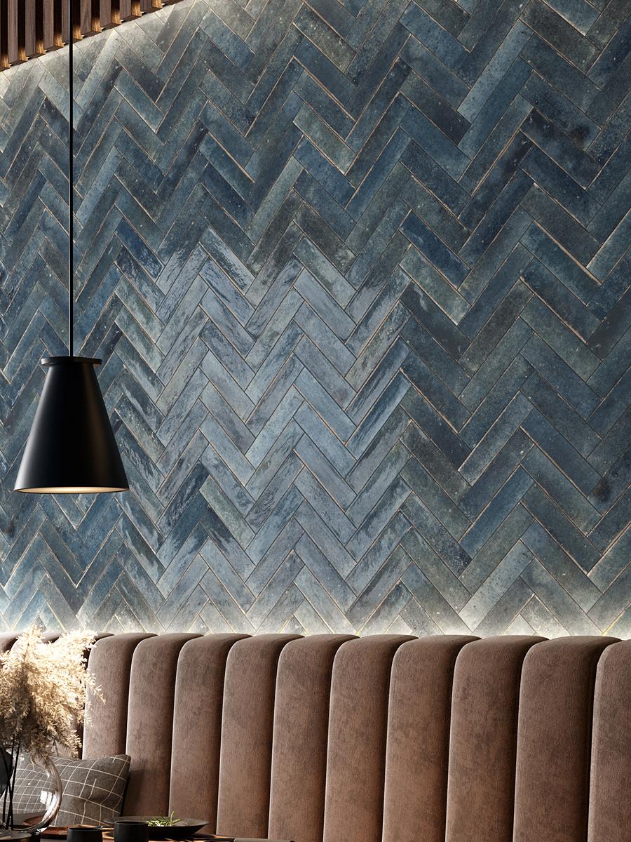 Soho Blu Luxury Italian Gloss Wall Tile - 60x250(mm)