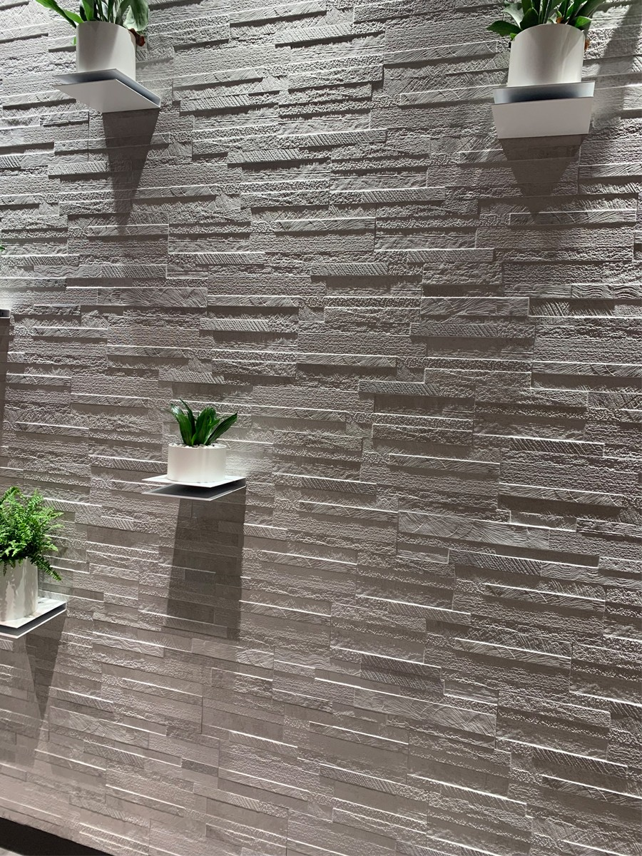 White Quartz Split Face Effect Outdoor Porcelain Wall Tile - 150x610x7-11(mm)