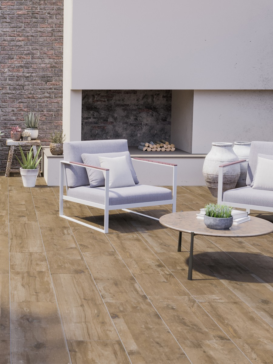 Vintage Wood Virtue Vitrified Porcelain Paving Slabs - 1200x300 Pack
