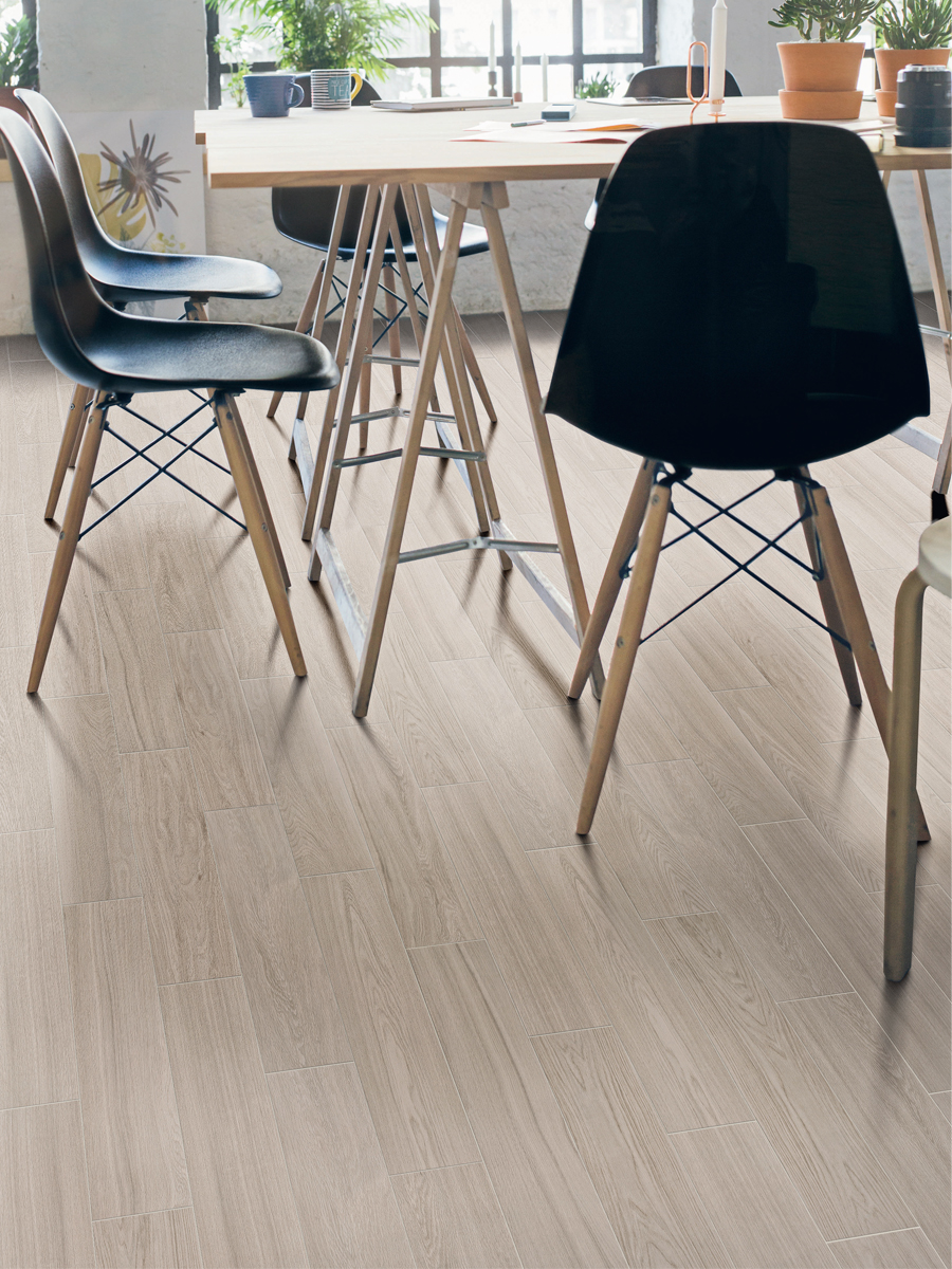 Visual White Wood Effect Indoor Tiles - 500x125(mm)