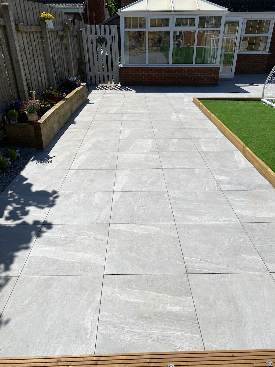 Warm Grey King Size Outdoor Porcelain Paving Slabs - 800x800 Pack