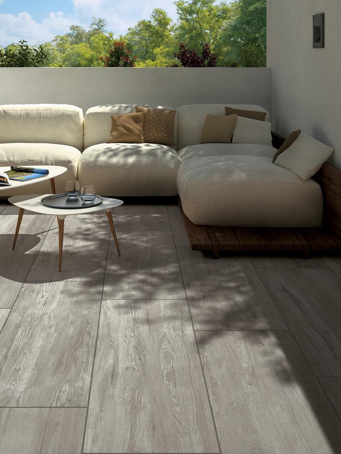 Oak Wood Effect Virtue Vitrified Porcelain Paving Slabs - 900x450 Pack