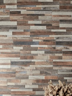 Multicolour Wood Split Face Effect Porcelain Wall Tile - 150x610