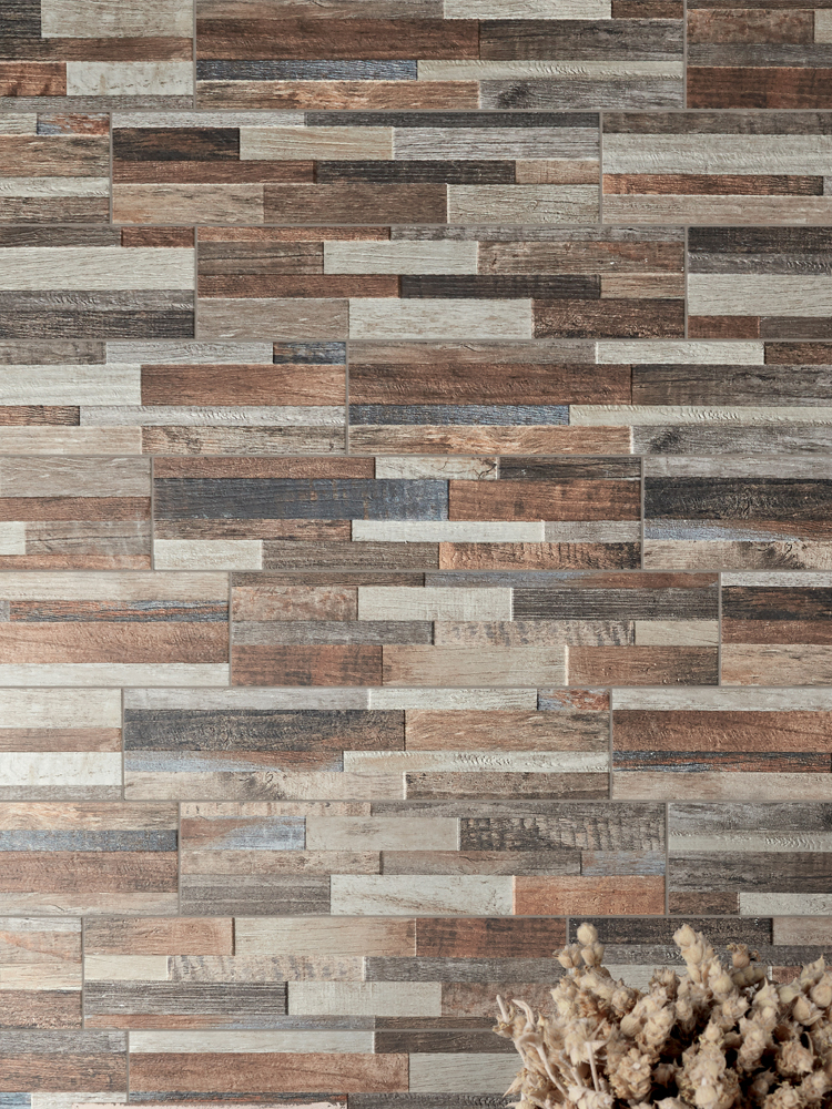 Multicolour Wood Split Face Effect Outdoor Porcelain Wall Tile - 150x610x7-11(mm)